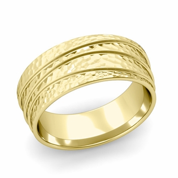 Wave Comfort Fit Wedding Ring in 18k Gold Hammered Finish Band, 8mm