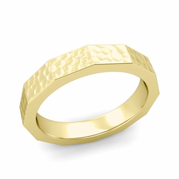 Square Comfort Fit Wedding Ring in 18k Gold Matte Hammered Finish Band, 4mm