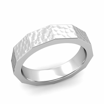 Square Comfort Fit Wedding Ring in 14k Gold Matte Hammered Finish Band, 5mm
