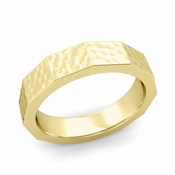 Square Comfort Fit Wedding Ring in 18k Gold Matte Hammered Finish Band, 5mm