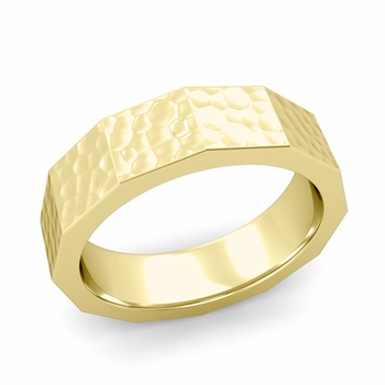 Square Comfort Fit Wedding Ring in 18k Gold Matte Hammered Finish Band, 6mm