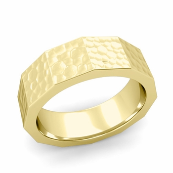 Square Comfort Fit Wedding Ring in 18k Gold Matte Hammered Finish Band, 7mm