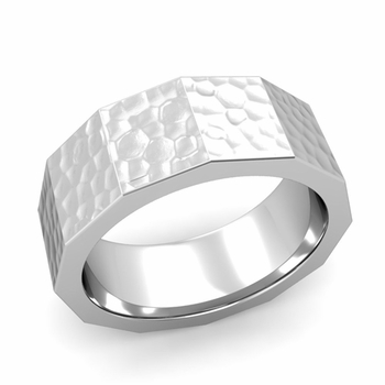 Square Comfort Fit Wedding Ring in 14k Gold Matte Hammered Finish Band, 8mm