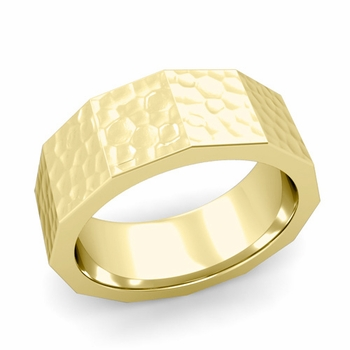 Square Comfort Fit Wedding Ring in 18k Gold Matte Hammered Finish Band, 8mm