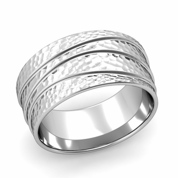Wave Comfort Fit Wedding Ring in Platinum Hammered Finish Band, 10mm