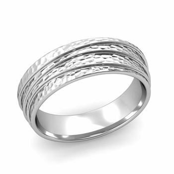Wave Comfort Fit Wedding Ring in Platinum Hammered Finish Band, 6mm