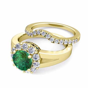 Radiant Diamond and Emerald Halo Engagement Ring Bridal Set in 18k Gold, 7mm