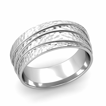Wave Comfort Fit Wedding Ring in Platinum Hammered Finish Band, 8mm