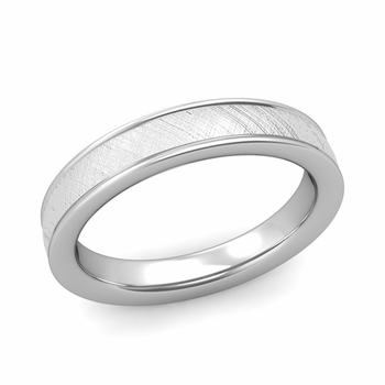 Mixed Brushed Finish Wedding Band in 14k White or Yellow Gold Comfort Fit Band, 4mm