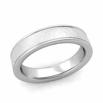 Mixed Brushed Finish Wedding Band in 14k White or Yellow Gold Comfort Fit Band, 5mm