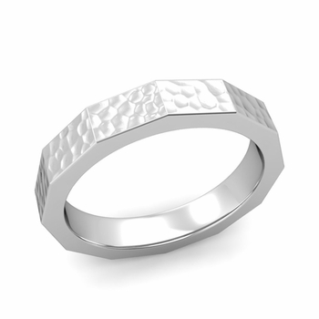 Square Comfort Fit Wedding Ring in Platinum Matte Hammered Finish Band, 4mm