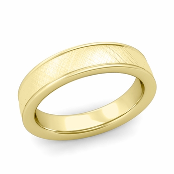 Mixed Brushed Finish Wedding Band in 18k White or Yellow Gold Comfort Fit Band, 5mm