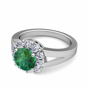 Radiant Diamond and Emerald Halo Engagement Ring in Platinum, 7mm