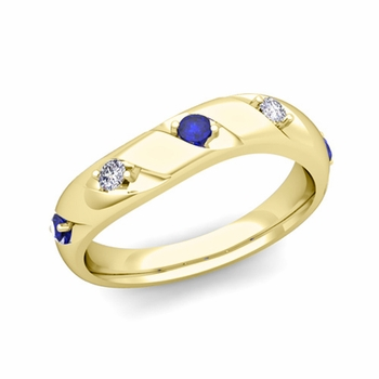 Curved Sapphire and Diamond Wedding Ring Band in 18k Gold, 3.5mm