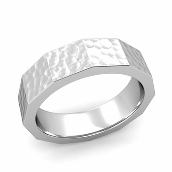 Square Comfort Fit Wedding Ring in Platinum Matte Hammered Finish Band, 6mm