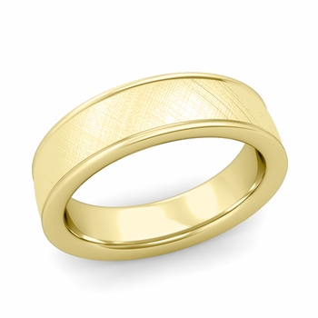 Mixed Brushed Finish Wedding Band in 18k White or Yellow Gold Comfort Fit Band, 6mm