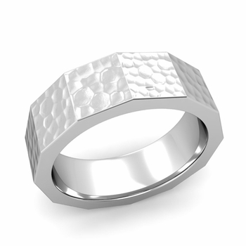 Square Comfort Fit Wedding Ring in Platinum Matte Hammered Finish Band, 7mm