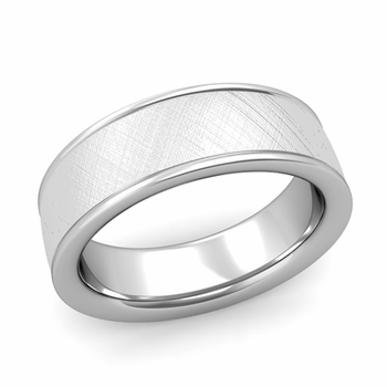 Mixed Brushed Finish Wedding Band in 14k White or Yellow Gold Comfort Fit Band, 7mm