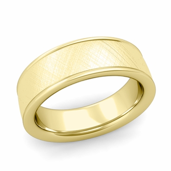 Mixed Brushed Finish Wedding Band in 18k White or Yellow Gold Comfort Fit Band, 7mm