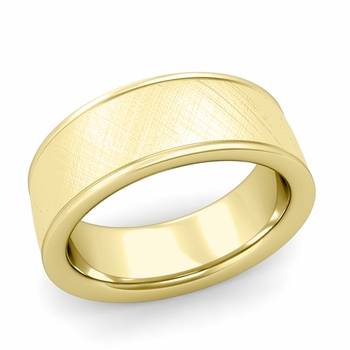 Mixed Brushed Finish Wedding Band in 18k White or Yellow Gold Comfort Fit Band, 8mm