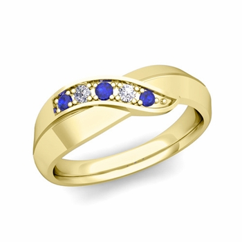 5 Stone Sapphire and Diamond Wedding Ring in 18k Gold Infinity Ring Band, 5.2mm