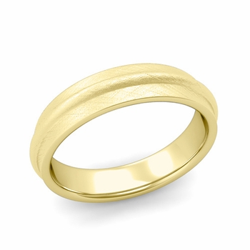 Ridged Wedding Band in 18k Gold Mixed Brushed Finish Comfort Fit Band, 5mm