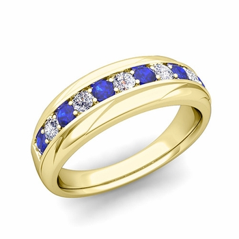 Brilliant Diamond and Sapphire Wedding Ring Band in 18k Gold, 6mm