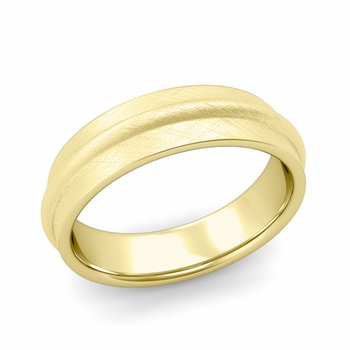 Ridged Wedding Band in 18k Gold Mixed Brushed Finish Comfort Fit Band, 6mm