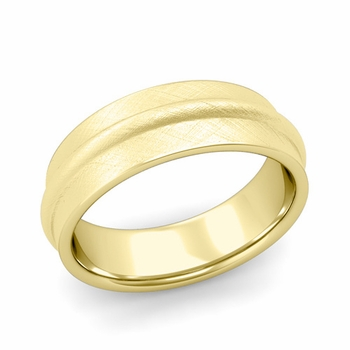 Ridged Wedding Band in 18k Gold Mixed Brushed Finish Comfort Fit Band, 7mm