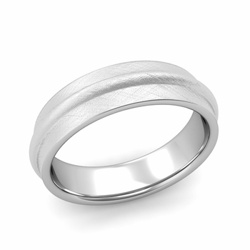 Ridged Wedding Band in Platinum Mixed Brushed Finish Comfort Fit Band, 6mm