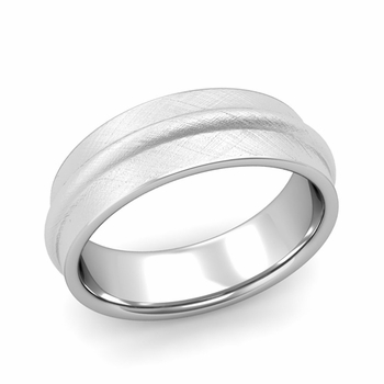 Ridged Wedding Band in Platinum Mixed Brushed Finish Comfort Fit Band, 7mm