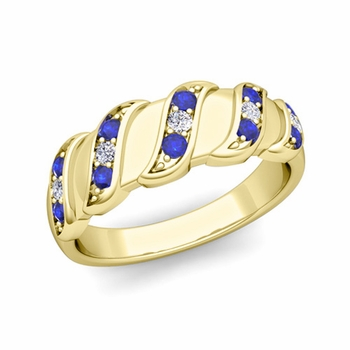Twisted Diamond and Sapphire Wedding Ring Band in 18k Gold, 5mm