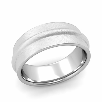 Ridged Wedding Band in Platinum Mixed Brushed Finish Comfort Fit Band, 8mm