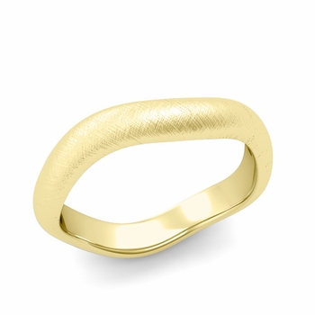 Curved Mixed Brushed Finish Wedding Ring in 18k Gold Comfort Fit Band, 4mm