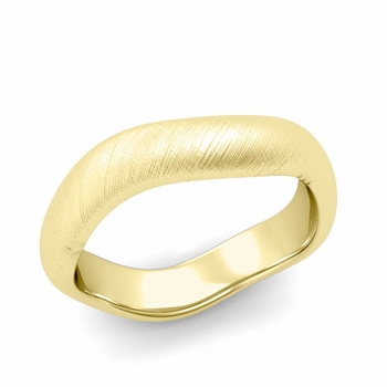 Curved Mixed Brushed Finish Wedding Ring in 18k Gold Comfort Fit Band, 5mm