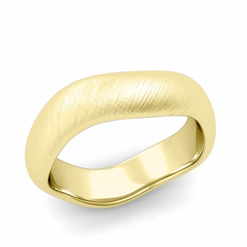 Curved Mixed Brushed Finish Wedding Ring in 18k Gold Comfort Fit Band, 6mm