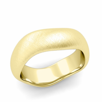 Curved Mixed Brushed Finish Wedding Ring in 18k Gold Comfort Fit Band, 7mm
