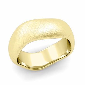 Curved Mixed Brushed Finish Wedding Ring in 18k Gold Comfort Fit Band, 8mm
