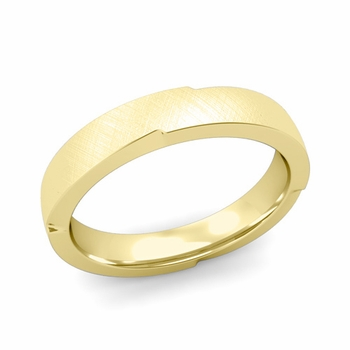 Unique Comfort Fit Wedding Band with Mixed Brushed Finish in 18k Gold Band, 4mm