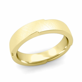 Unique Comfort Fit Wedding Band with Mixed Brushed Finish in 18k Gold Band, 5mm