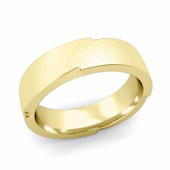 Unique Comfort Fit Wedding Band with Mixed Brushed Finish in 18k Gold Band, 6mm