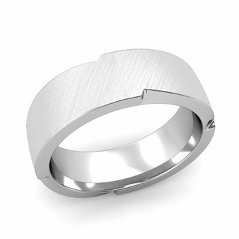 Unique Comfort Fit Wedding Band with Mixed Brushed Finish in 14k Gold Band, 7mm