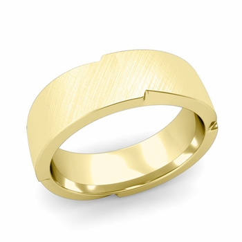 Unique Comfort Fit Wedding Band with Mixed Brushed Finish in 18k Gold Band, 7mm
