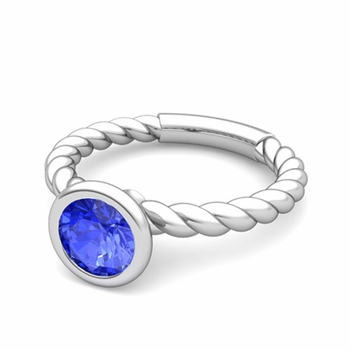 Bezel Set Solitaire Ceylon Sapphire Ring in 14k Gold Twisted Rope Band, 7mm