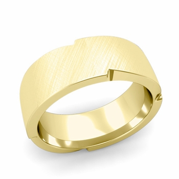 Unique Comfort Fit Wedding Band with Mixed Brushed Finish in 18k Gold Band, 8mm