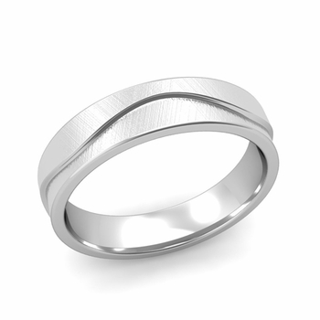 Wave Wedding Band in 14k Gold Comfort Fit Ring, Mixed Brushed Finish, 5mm