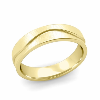 Wave Wedding Band in 18k Gold Comfort Fit Ring, Mixed Brushed Finish, 5mm