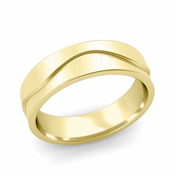 Wave Wedding Band in 18k Gold Comfort Fit Ring, Mixed Brushed Finish, 6mm