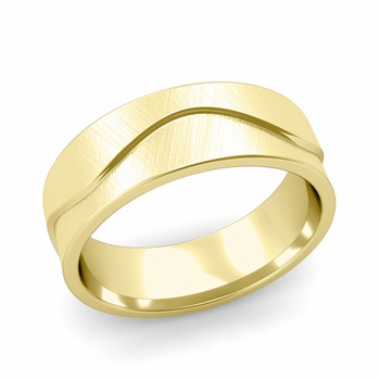 Wave Wedding Band in 18k Gold Comfort Fit Ring, Mixed Brushed Finish, 7mm