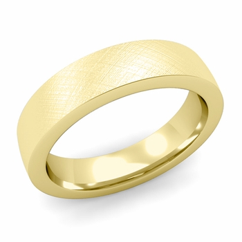 Flat Comfort Fit Wedding Band in 18k White or Yellow Gold, Mixed Brush, 5mm